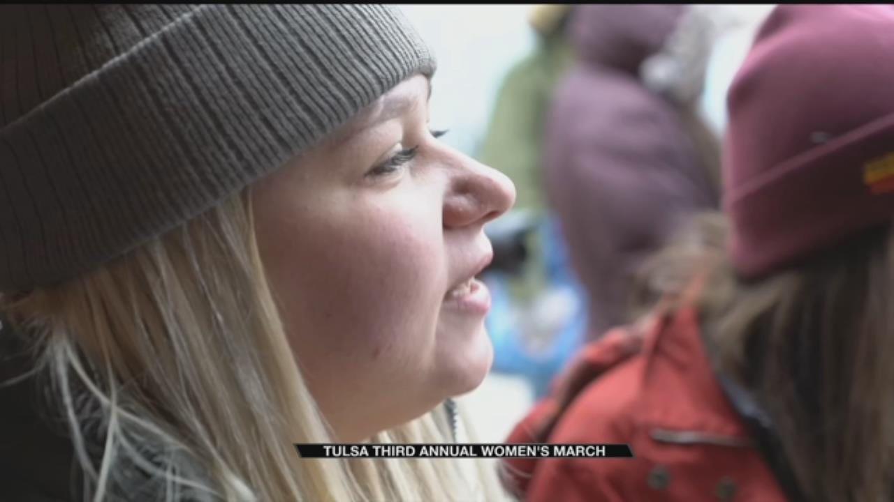 Large Crowds Join In Women's March On Guthrie Green