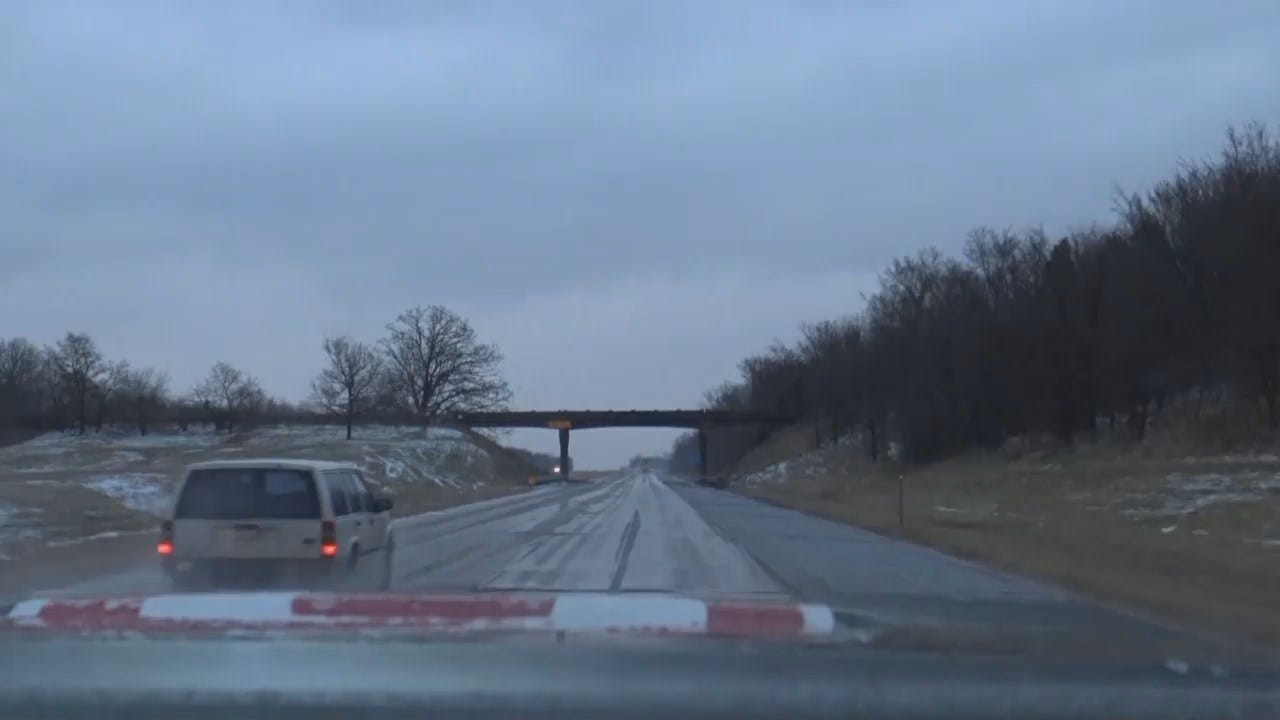 News On 6 Storm Tracker Captures Snowy Crash On I-40