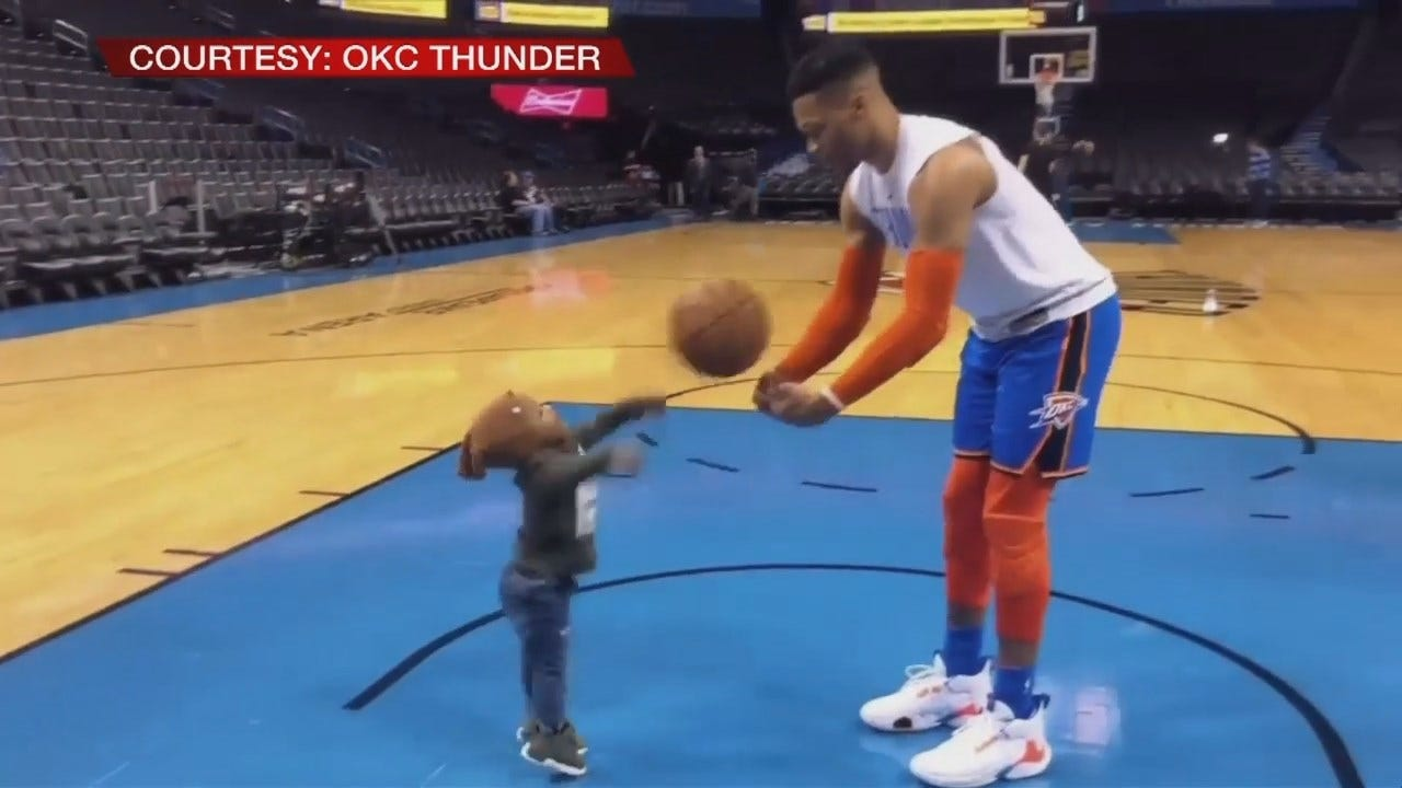 Cuteness Alert: Russell Westbrook Warms Up With Son
