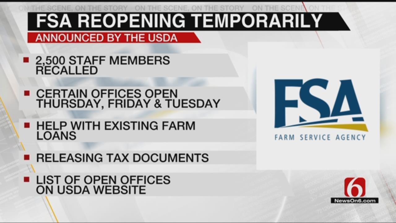 USDA Announces FSA Will Temporarily Re-Open