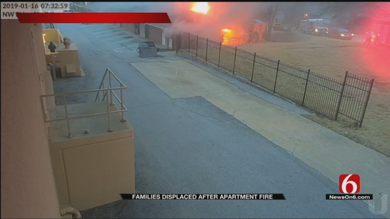 Surveillance Video Shows Fire That Damaged Tulsa Apartments