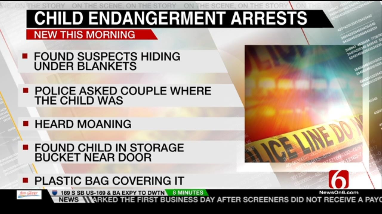 Tulsa Couple Arrested After Police Find 6 Year Old Hidden In A Bucket