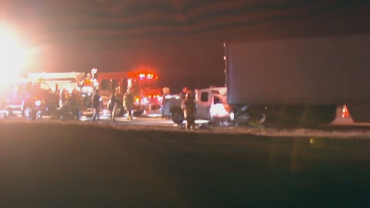 Video From Scene Of Pickup/Semi Crash On Highway 412 In Rogers County