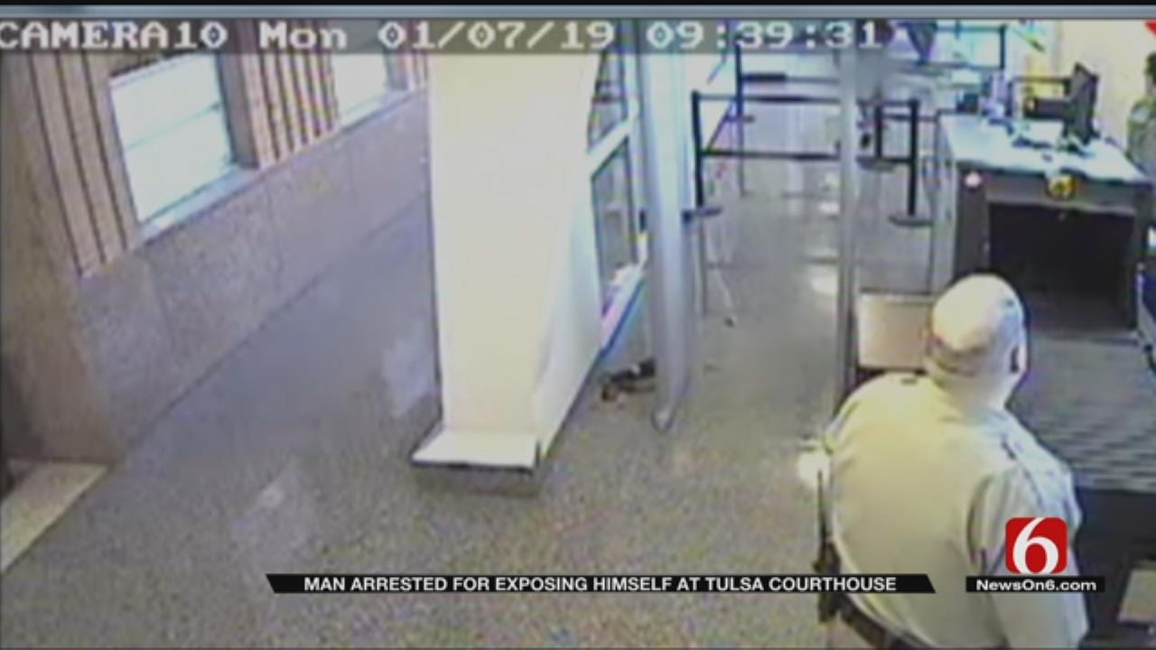 Surveillance Video Shows Man Walking Into Tulsa Courthouse Without Pants