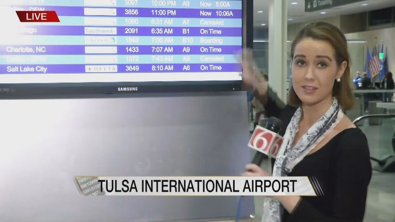 Julia Benbrook Reports On Delayed, Canceled Flights Out Of Tulsa International Airport