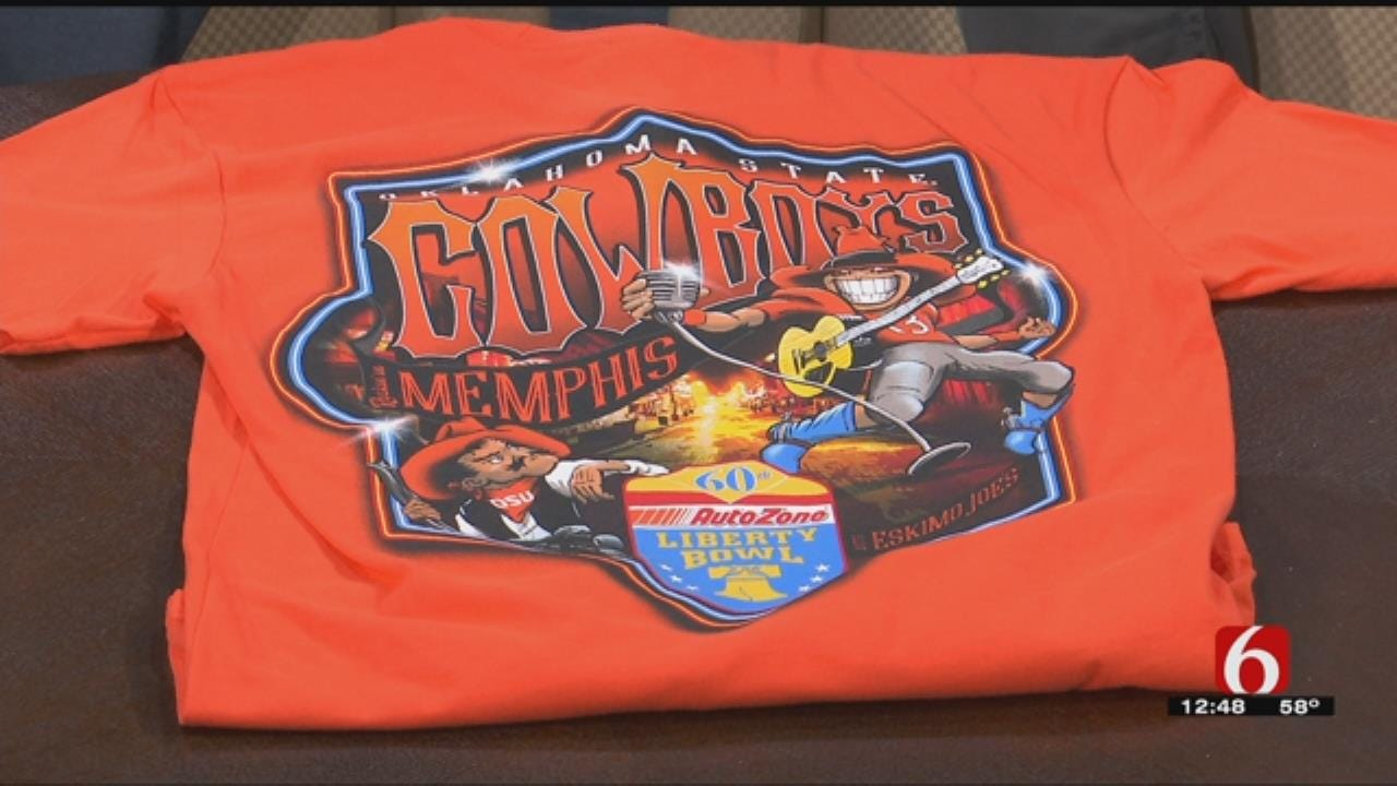 Eskimo Joe's Stan Clark Shows Us OSU Liberty Bowl Shirt
