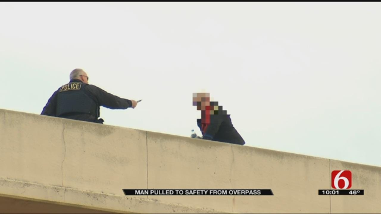 Tulsa PD Thankful After Man Pulled To Safety From Overpass