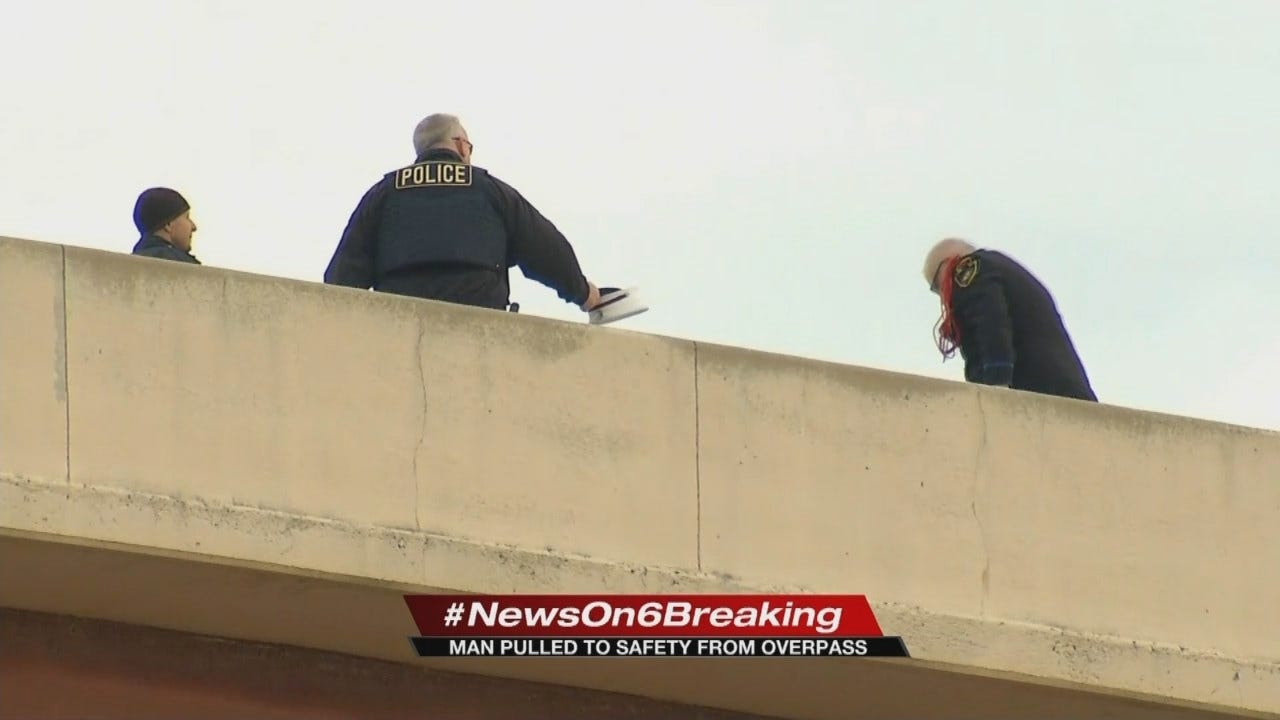 Tulsa Police Say Man Seen Straddling Bridge Railing Now In Custody