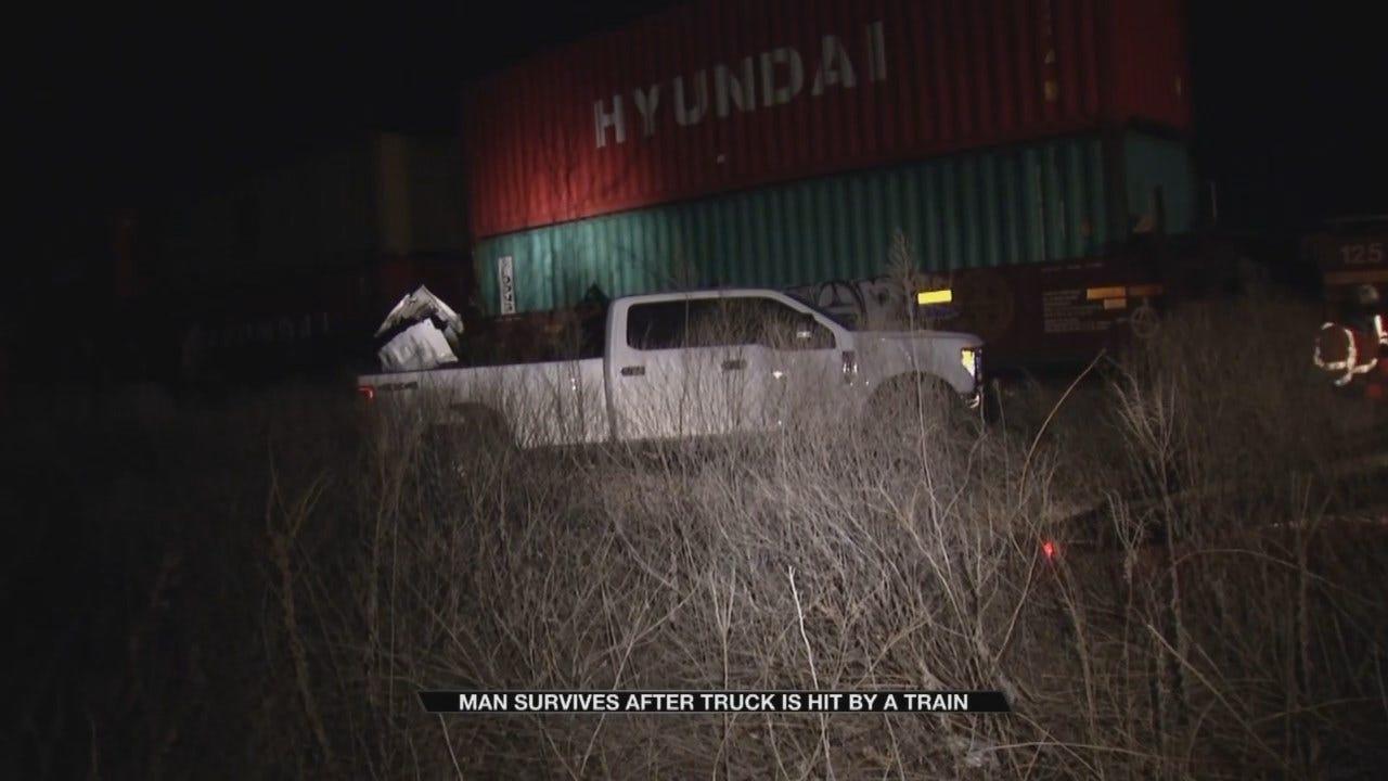 Train Hits Pickup Truck Stuck On Tracks Near Foyil