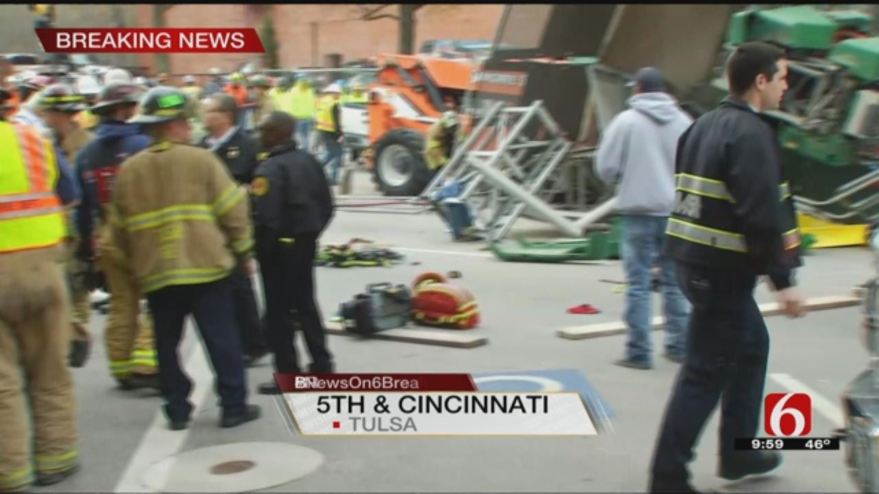 WATCH: 4 Hurt When Scaffolding Collapses In Downtown Tulsa