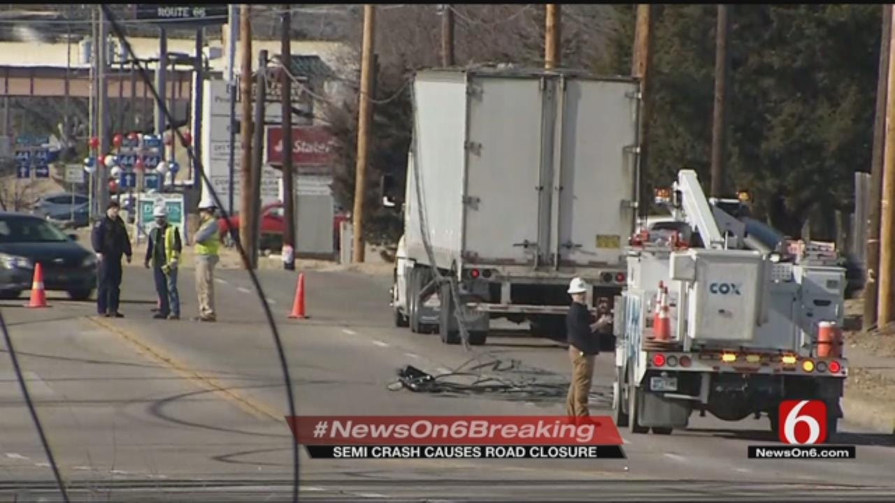 Semi Truck Hits Low-Hanging Power Lines In East Tulsa