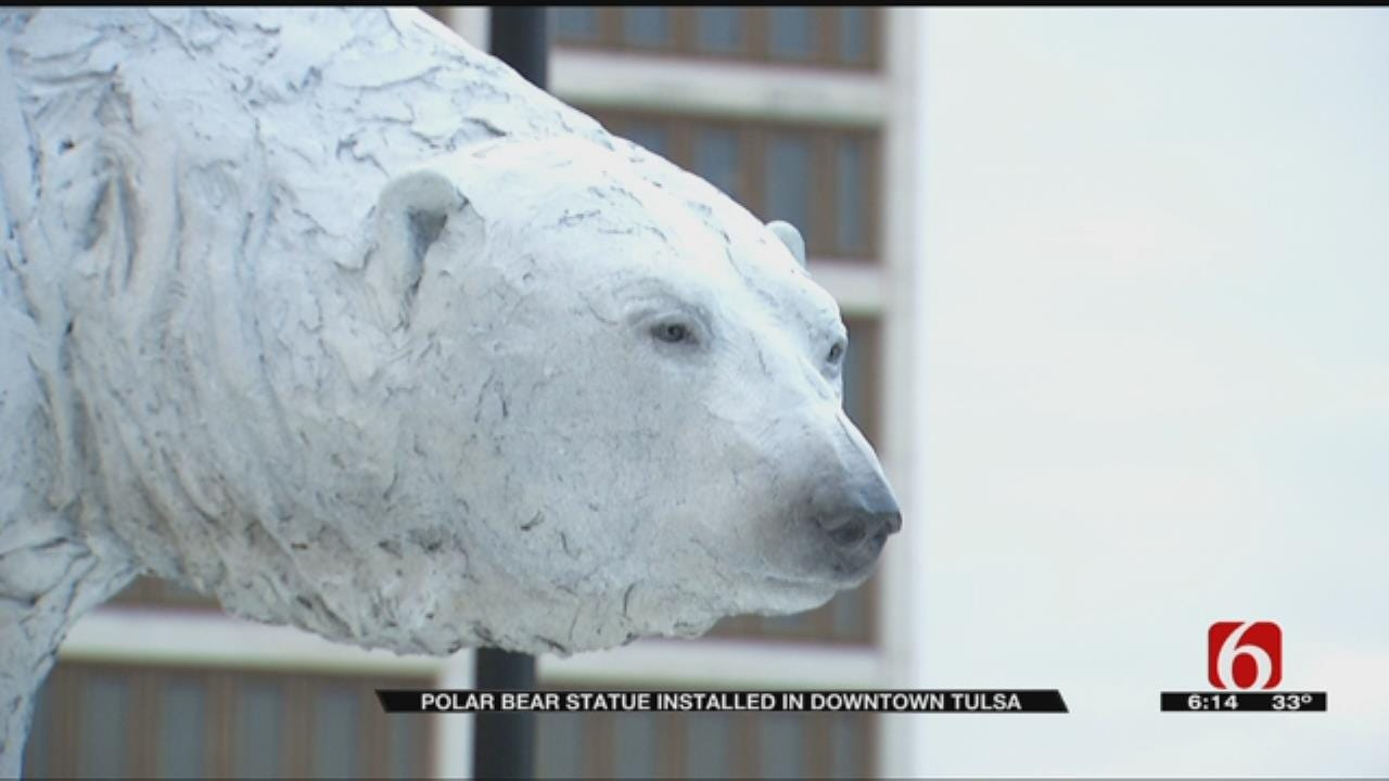 Non-Profit Installs Polar Bear Statue In Front Tulsa Of County Courthouse