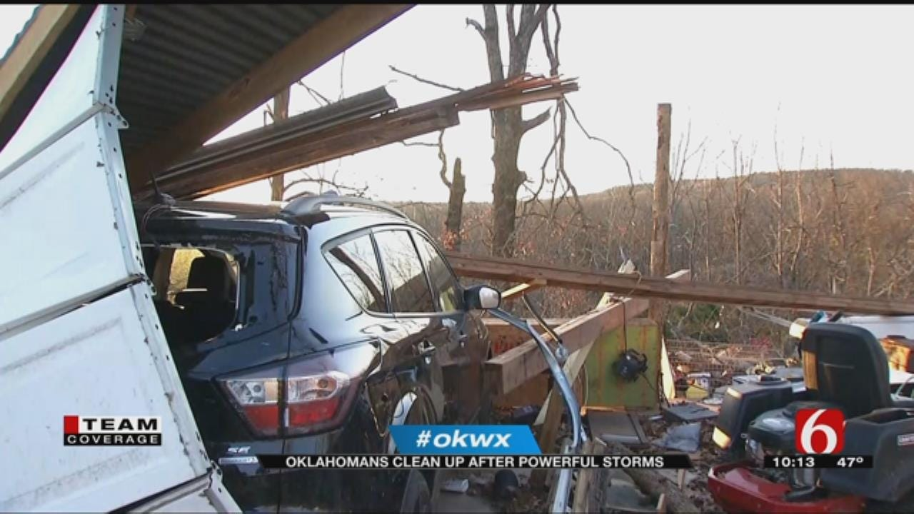 Oklahomans Cleaning Up After Severe Storms in Cherokee County