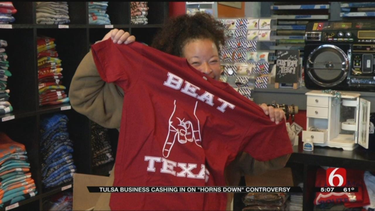 OU Fans Love 'Horns Down' T-Shirt Design At Tulsa Business