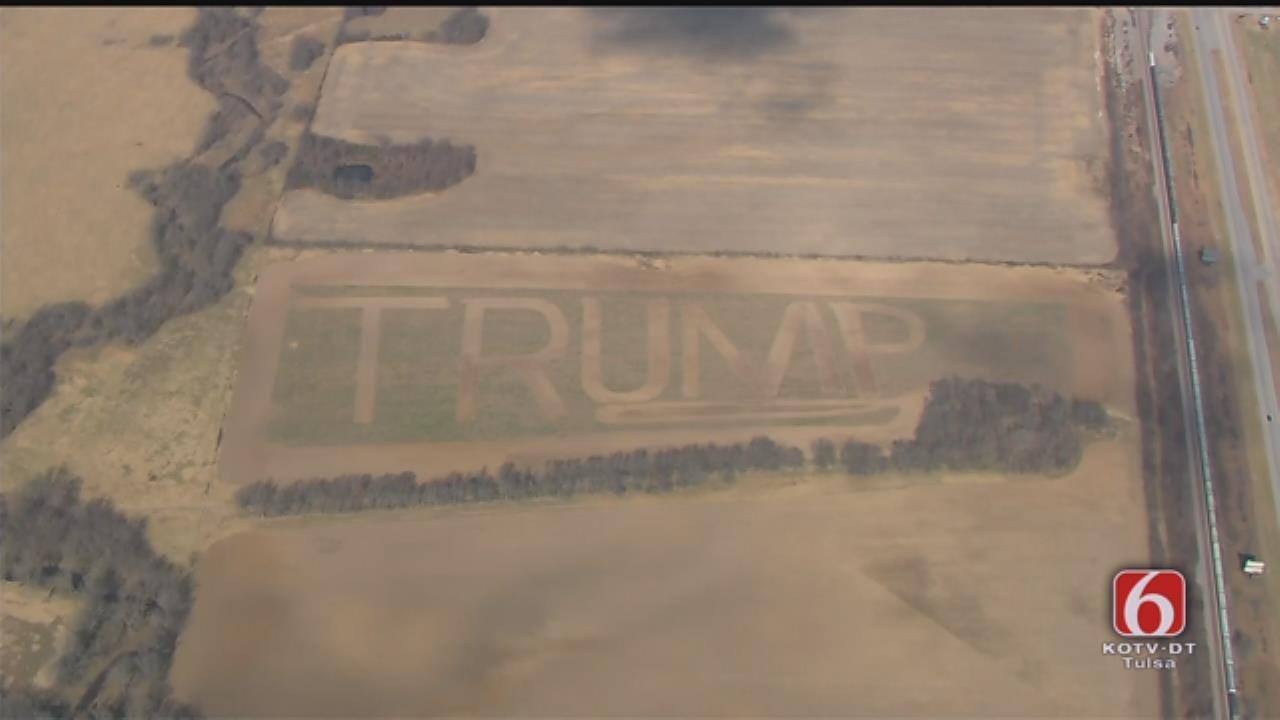 Oklahoma Farmer Plows Pro-Trump Message Into Field