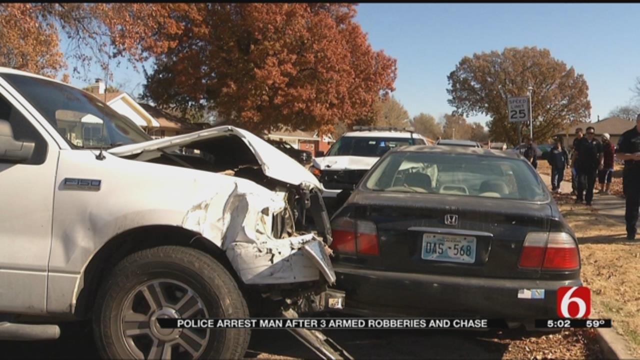 Tulsa Armed Robbery Suspect Flees, Hits TPD Patrol Car