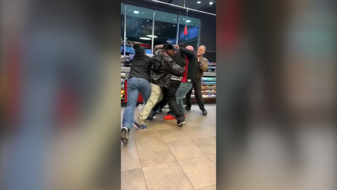Fight Involving QT Security Guard Caught On Tape