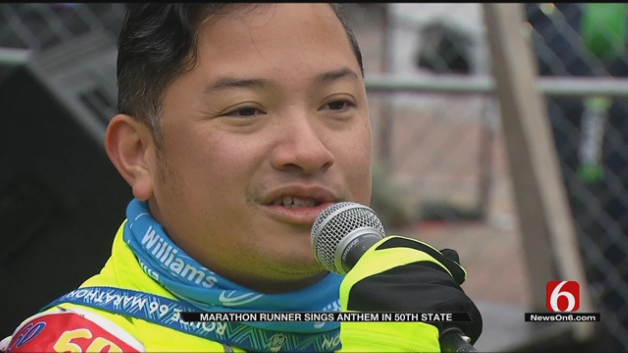 Oklahoma Marks 50th State For Anthem Singing Marathon Runner From NYC