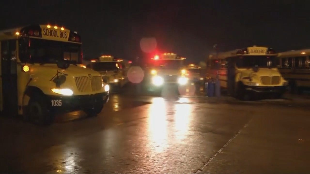 WEB EXTRA: Tulsa Public School Buses Preparing To Leave To Pickup Students
