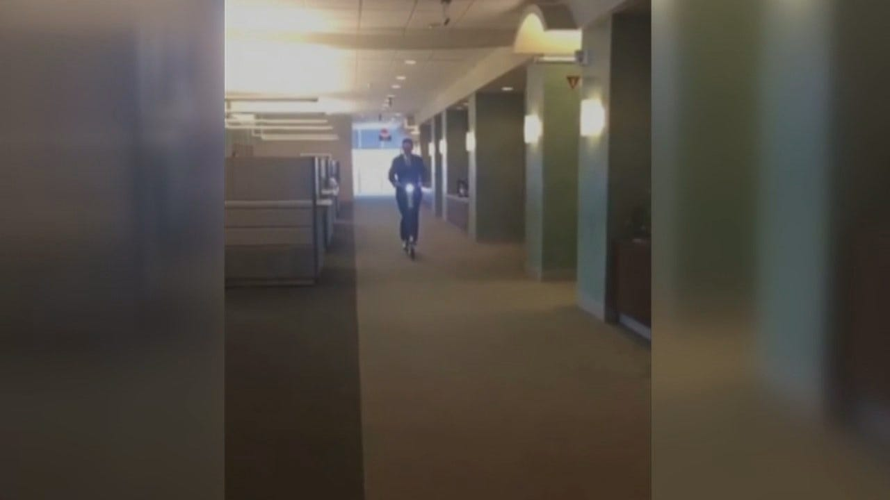 WEB EXTRA: Video Clip Of Tulsa Mayor GT Bynum Riding Electric Scooter In City Hall