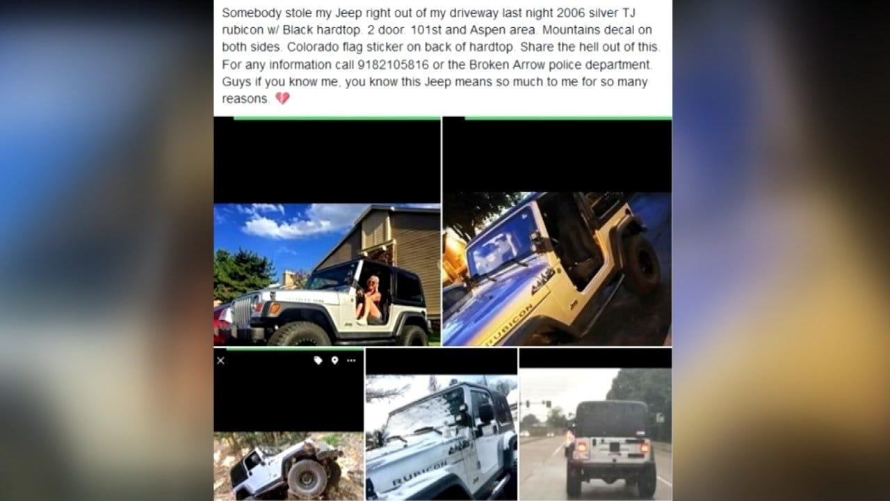 Tulsa Woman's Jeep Stolen, Allegedly Used In Other Crimes