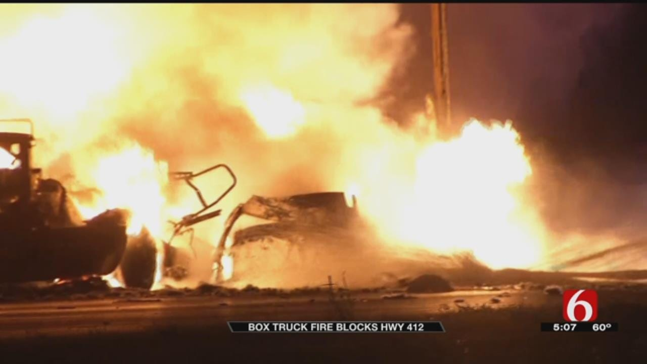 Box Truck Carrying Cooking Oil Burns Near Catoosa