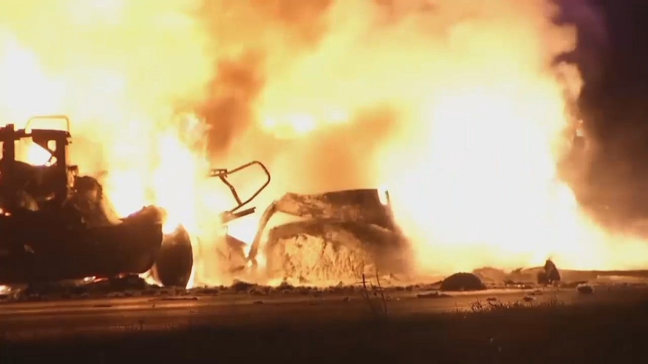 WEB EXTRA: Video Of Highway 412 Box Truck Fire