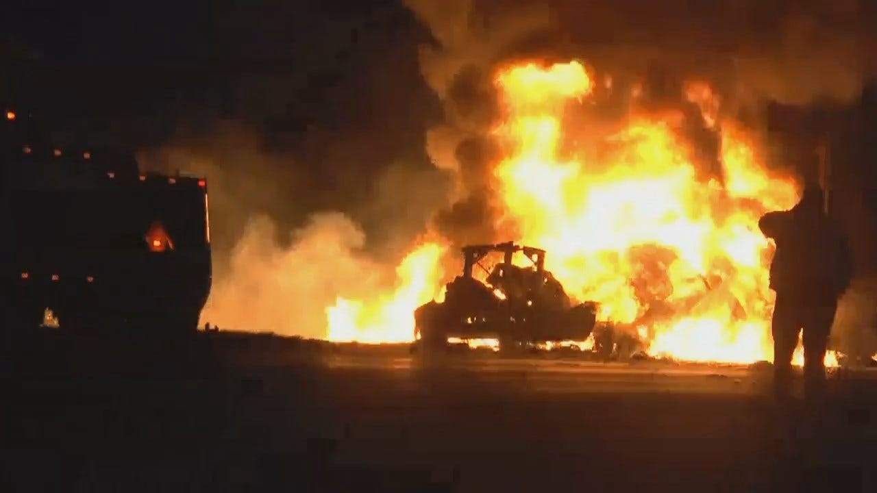 WEB EXTRA: Video Of Box Truck Fire On Highway 412