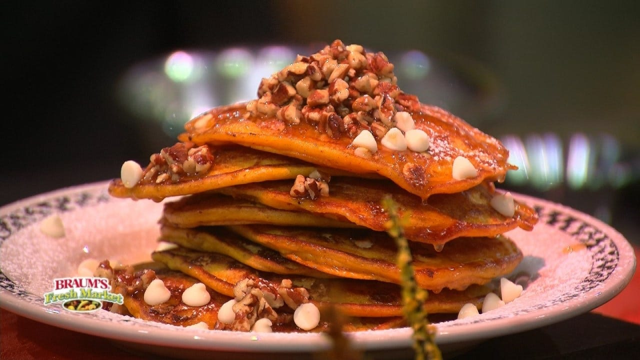 Pumpkin And White Chocolate Pancakes