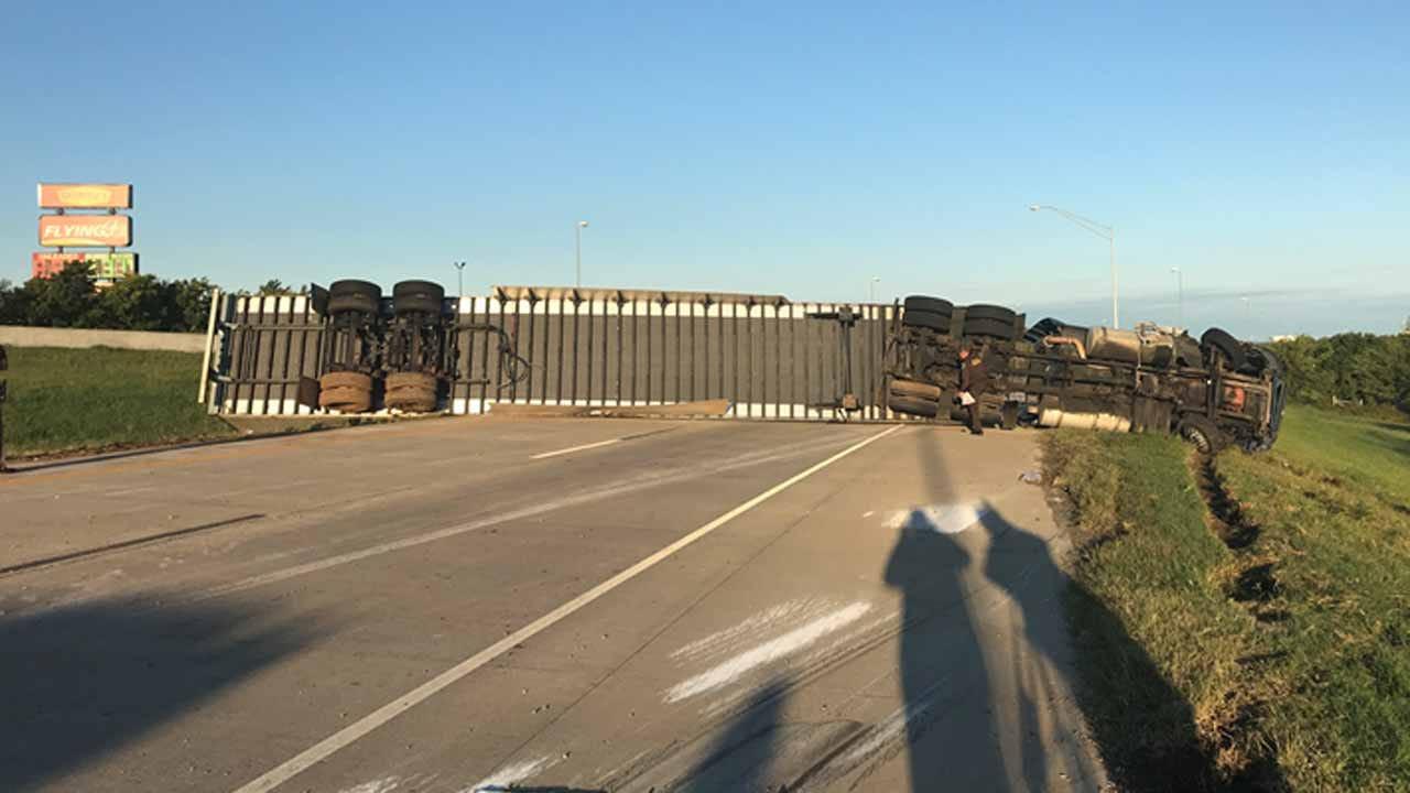 Dave Davis: Semi Carrying Axles Flips On Tulsa Highway Ramp