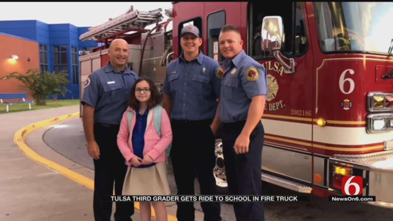 3rd Grader Wins Ride To School In Tulsa Fire Truck