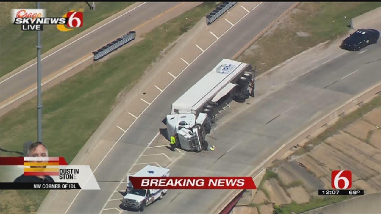 Semi Overturns On Highway Near Downtown Tulsa