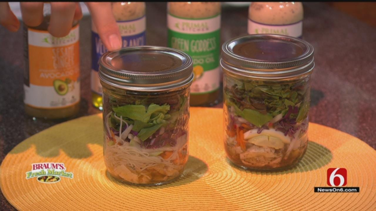 Chef Salad In A Jar With Greek Dressing