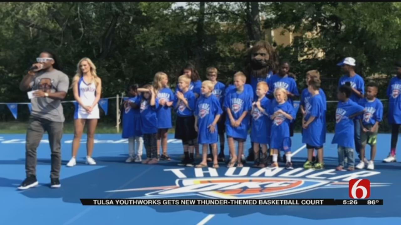 Tulsa Non-Profit Unveils Thunder Themed Basketball Court