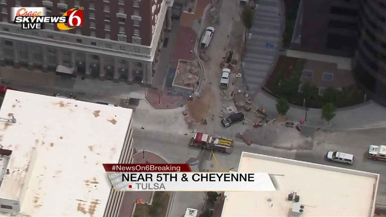 WATCH: Gas Line Rupture In Downtown Tulsa