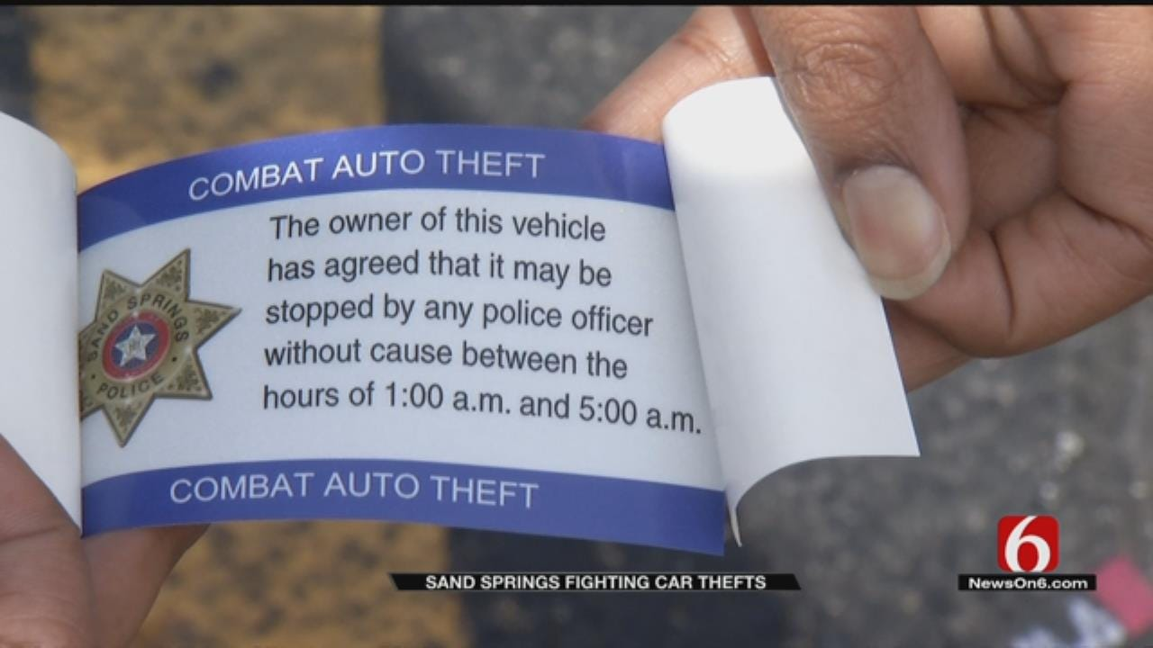Stickers May Help Fight Car Thefts In Sand Springs
