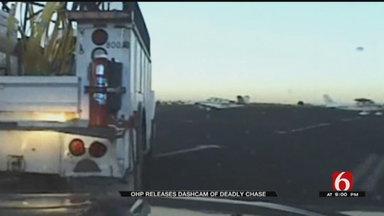 OHP Dashcam Shows Tulsa Airport Chase