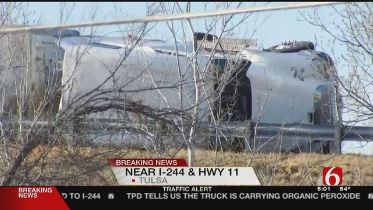 Truck Carrying Hazardous Material Crashes On Tulsa Highway