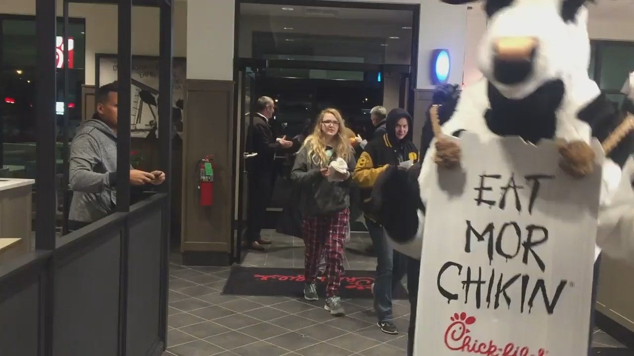 WEB EXTRA: Chick-fil-A Video Of First Customers Inside Restaurant