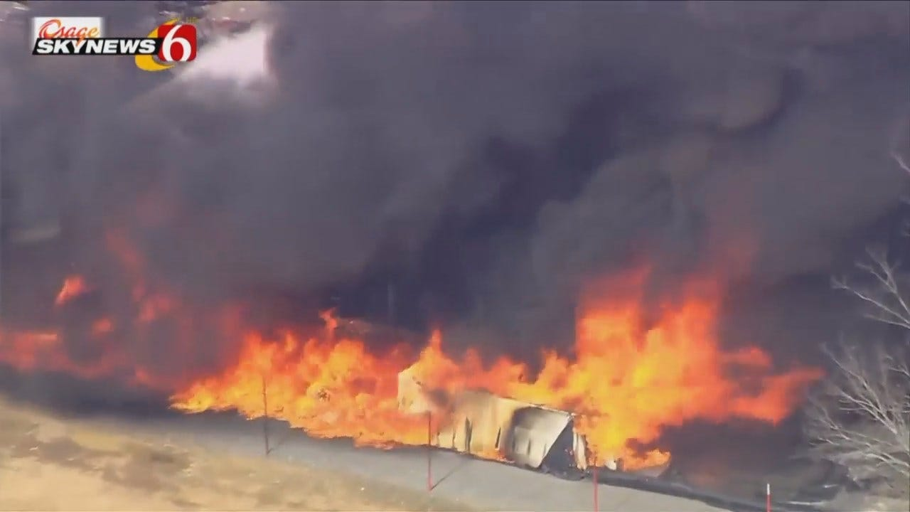 Osage SkyNews 6 HD Video From Scene Of Drilling Rig Fire