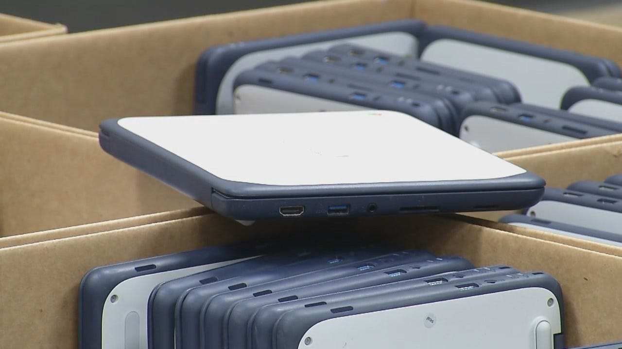 WEB EXTRA: Video Of BA Schools Handing Out Chromebooks To Middle School Students