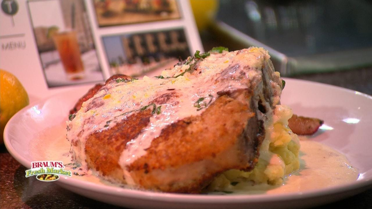 Pork Chop With Whipped Potatoes A& Roasted Radishes