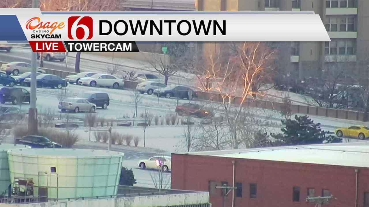 'Very Unusual' Snow Falls On Downtown Tulsa