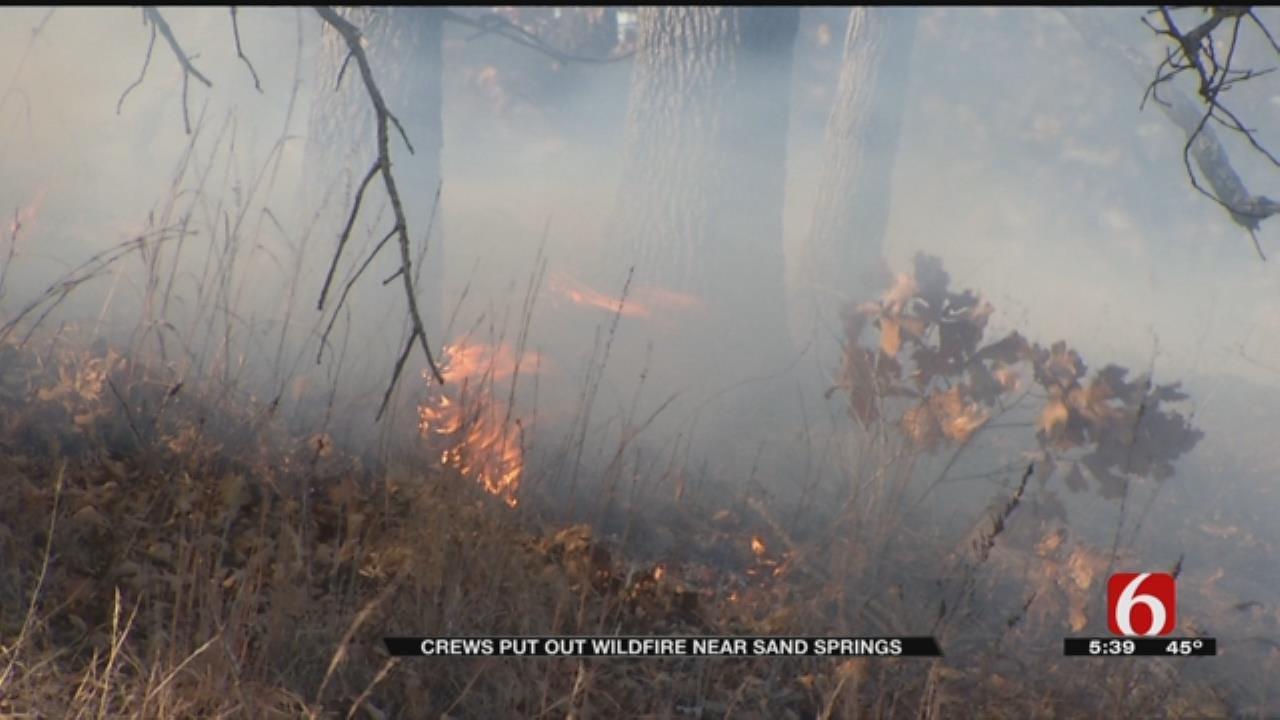 Grass Fire Threatens Businesses Near Sand Springs