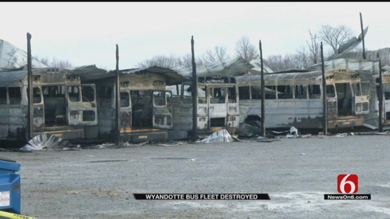 Most Of Wyandotte Public School Bus Fleet Destroyed In Fire