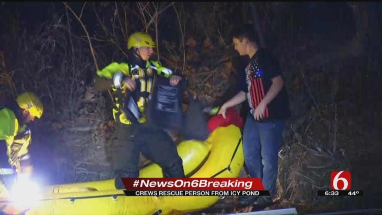 Tulsa Crews Make Icy Pond Rescue