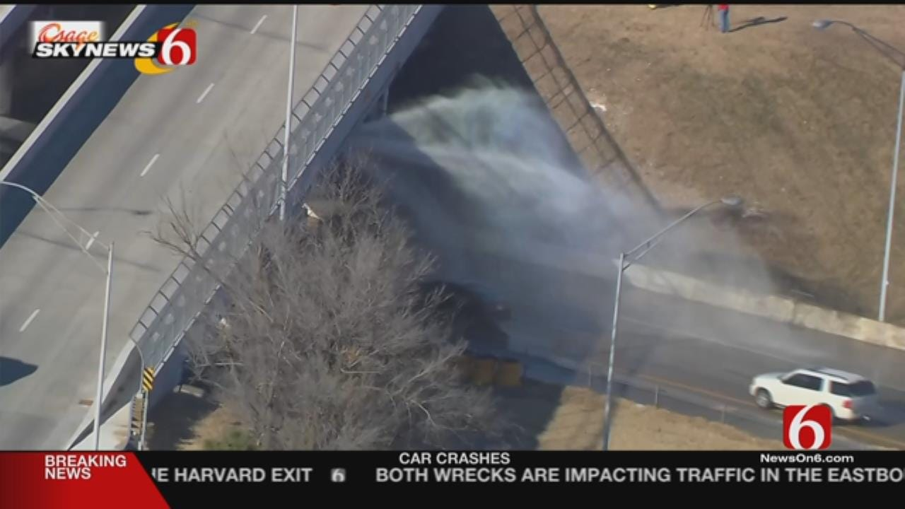 Water Main Break Affects Traffic On Tulsa Highway