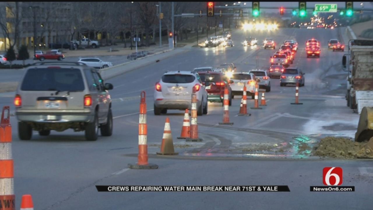 Water Main Break Impacts Tulsa Traffic