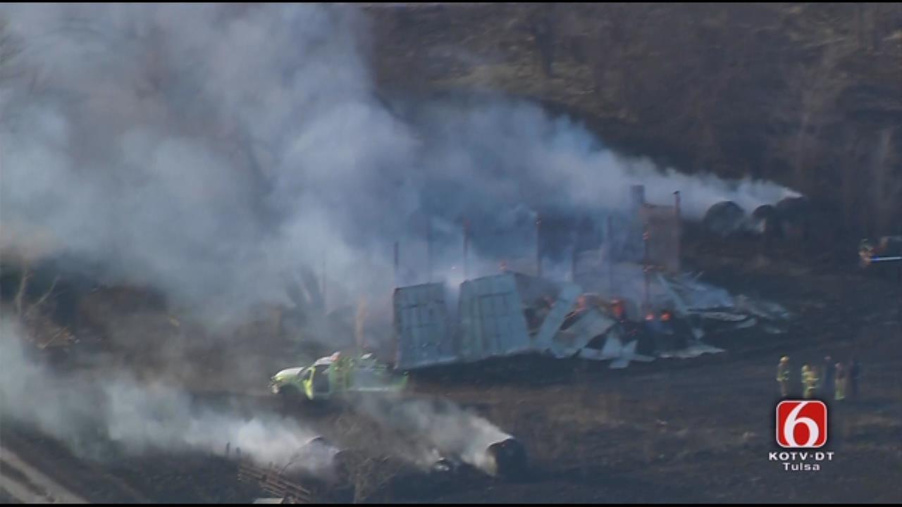 Osage SkyNews 6 HD: Grass Fire Destroys Pole Barn Near Pryor
