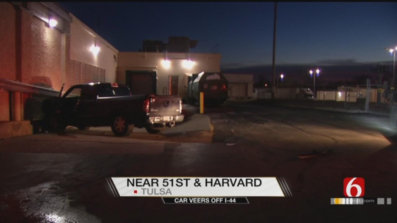 Vehicle Veers Off I-44, Nearly Crashes Into Building